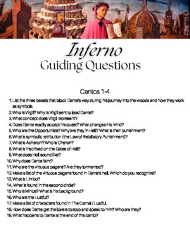 Dante's Inferno Canto Questions Packet