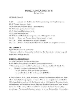 Dante's Inferno Lecture Notes, Cantos 10-11