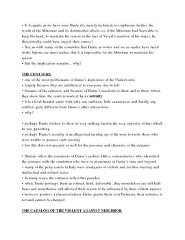 Dante's Inferno Lecture Notes, Cantos 12-13