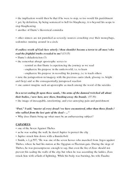 Dante's Inferno Lecture Notes, Cantos 14-15