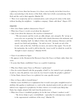 Dante's Inferno Lecture Notes, Cantos 6-7