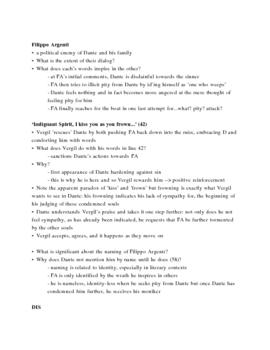 Dante's Inferno Lecture Notes, Cantos 8-9