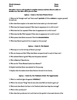 Dante's Inferno Reading/Study Questions