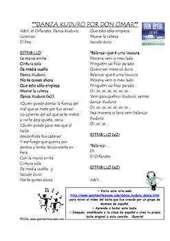 Danza Kuduro Song and Dance Activity in Spanish
