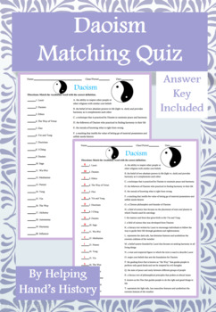 Daoism Activity Matching with Answer Key