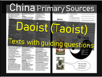 Daoism (Taoism) Primary Source Document and graphic organizer