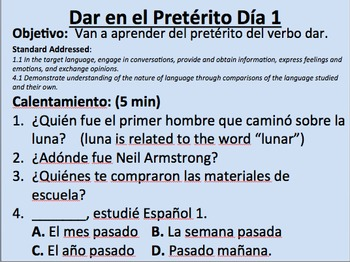 Dar Preterite--Initial Presentation