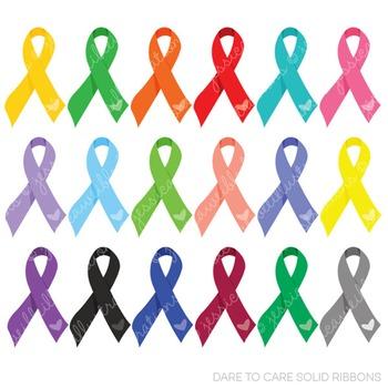 Dare to Care Solid Ribbons Cute Digital Clipart, Awareness