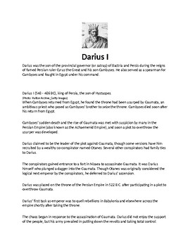 Darius I Article Biography and Assignment