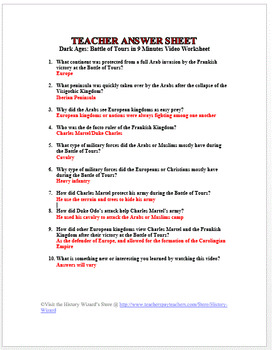 Dark Ages Battle Of Tours In 9 Minutes Video Worksheet By History