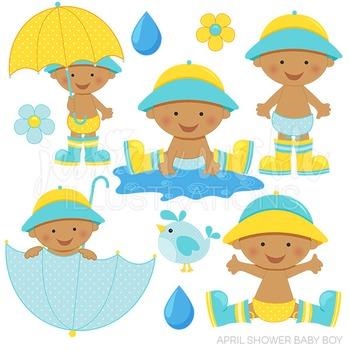 Dark April Shower Baby Boy Cute Digital Clipart, Baby Boy