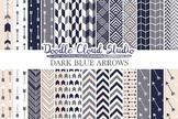 Dark Blue Gray & Cream colors Arrows digital paper, Arrow