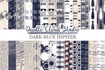 Dark Blue Navy Cream Grey Hipster digital paper, Vintage Retro patterns