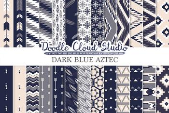Dark Blue Navy Cream & Grey colors Aztec digital paper, Tribal patterns.