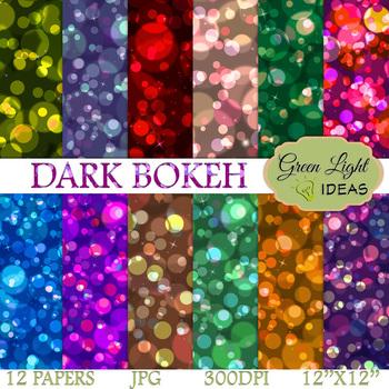 Dark Bokeh Backgrounds / Bokeh Lights Digital Papers