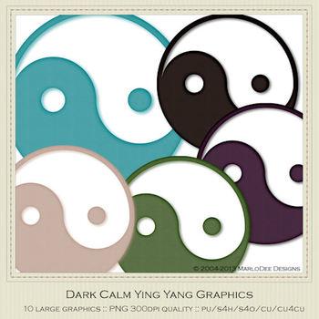 Dark Calm Ying Yang Graphics Symbols by MarloDee Designs