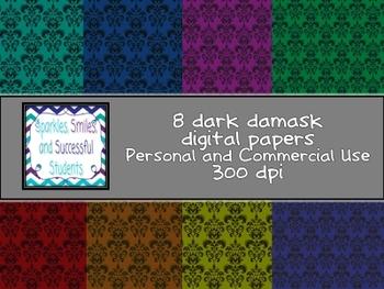 Digital Papers: Dark Damask Pack