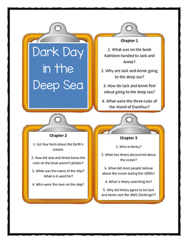 Magic Tree House DARK DAY IN THE DEEP SEA - Discussion Cards