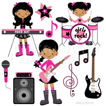 Dark Girls Rock Cute Digital Clipart, Rock Band Clip Art