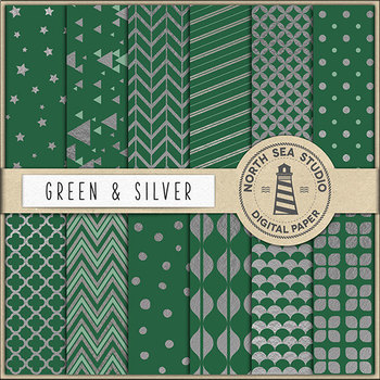 Dark Green And Silver Digital Paper, Silver Patterns, Peach Backgrounds