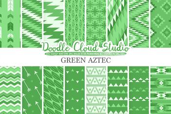 Dark Green Aztec digital paper, Tribal patterns, native,  triangles, geometric.