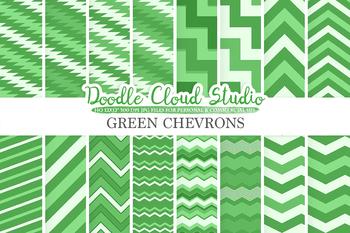 Dark Green Chevron digital paper, Chevron and Stripes  pattern, tribal chevron