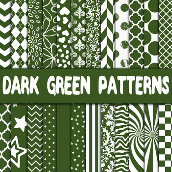 Dark Green Digital Paper - Dark Green Pattern Designs - 24 Papers - 12 x 12