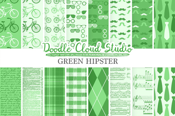Dark Green Hipster digital paper, Vintage Retro patterns, Father's day