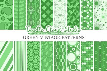 Dark Green Retro digital paper, Geometric Vintage patterns, Pine Green digital .