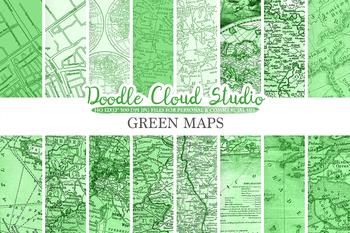 Dark Green Vintage Maps digital paper, Old Maps, Modern Maps, Historical Maps