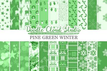 Dark Green Winter digital paper, Christmas Holiday patterns, Stars, Snow