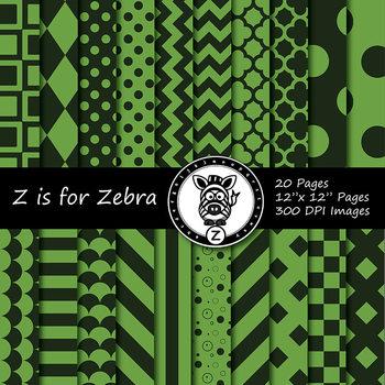 Dark Green/Green dual tone Digital Paper Pack 4 - CU ok { ZisforZebra}