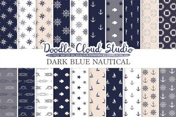 Dark Navy Blue, Grey & Cream colors Nautical digital paper, Seal patterns