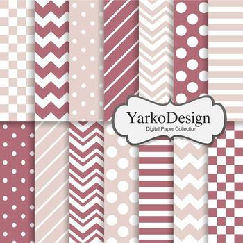 Dark Pink And Blush Basic Geometric Digital Paper Set, 14 Digital Paper
