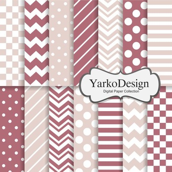 Dark Pink And Blush Basic Geometric Digital Paper Set, 14