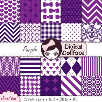 Dark Purple Backgrounds / Plum Digital Paper Pack