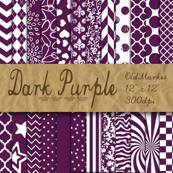 Dark Purple Digital Paper - Purple Pattern Designs - 24 Papers - 12 x 12