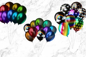 Dark Rainbow Balloons Clipart