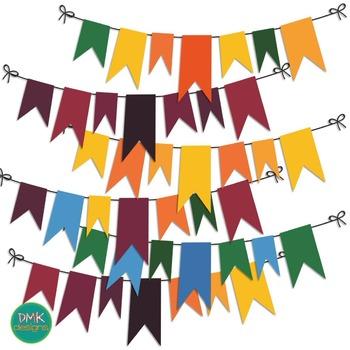 Clipart- Dark Rainbow Buntings, Banners & Borders Set