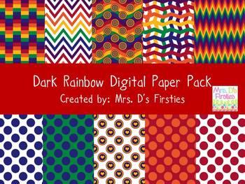 Dark Rainbow Digital Paper Pack