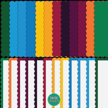 Dark Rainbow Scalloped Frames Set #2