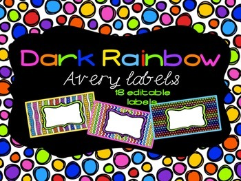 Dark Rainbow Theme Editable Classroom Labels 2x4 { Avery Label 8163 }