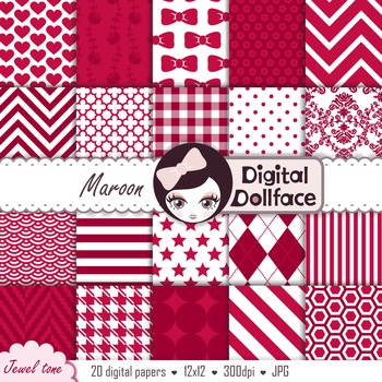 Dark Red Backgrounds / Maroon Digital Papers