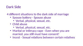 Dark Side and Bright Side of Marriage PowerPoint and Guided/Completed Notes