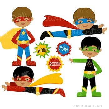 Dark Skin Super Hero Boys Cute Digital Clipart, Super Hero Clip Art
