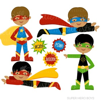 Dark Skin Super Hero Boys Cute Digital Clipart, Super Hero