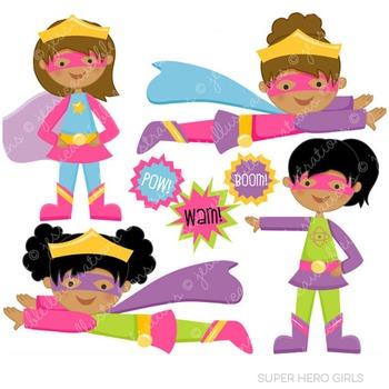 Dark Skin Super Hero Girls Cute Digital Clipart, Super Hero Clip Art