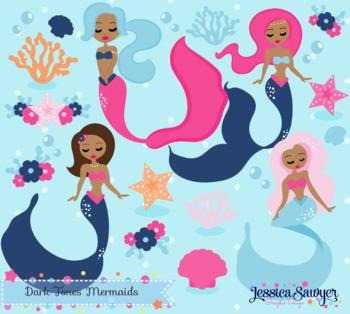 Dark Skin Tone Mermaid Clipart or Summer Clipart