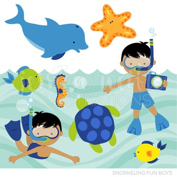 Dark Snorkeling Fun Boys Cute Digital Clipart, Summer Swimming Graphics