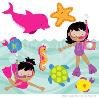 Dark Snorkeling Fun Girls Cute Digital Clipart, Summer Swimming Graphics